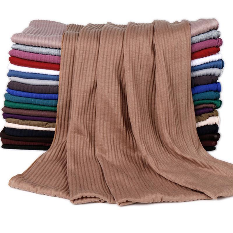 20 colori pianura solido rughe Maxi Jersey Hijab dello scialle elastico Foulards sciarpa araba musulmana islamica Snood fascia 180 * 85cm T200407