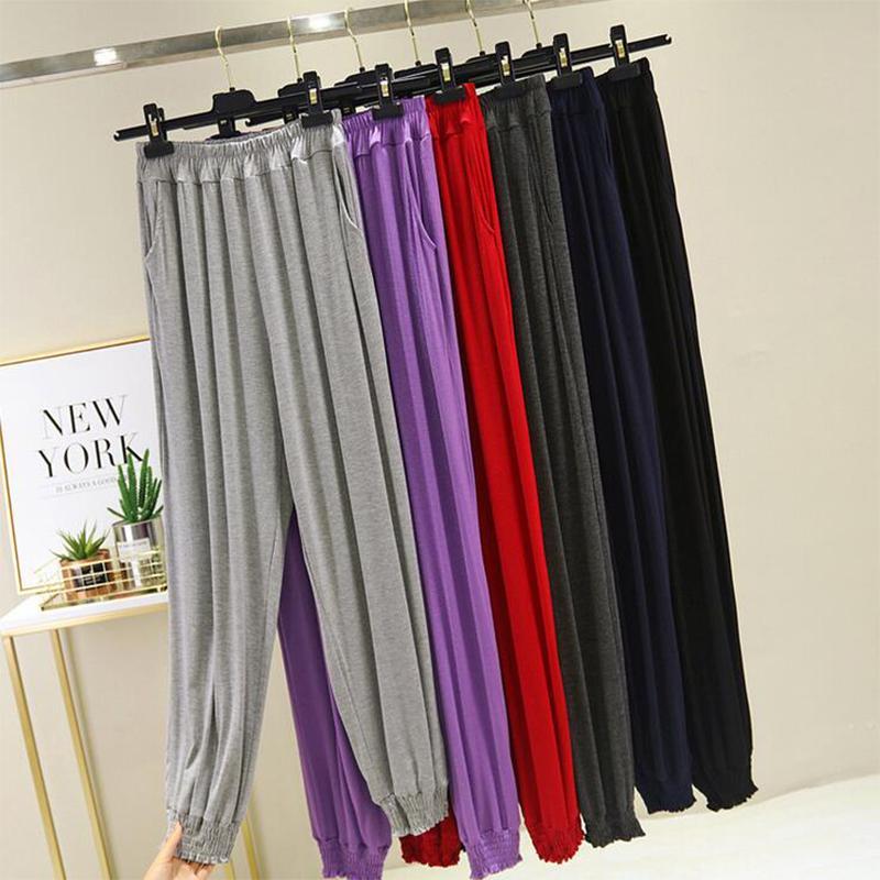 2020 primavera verano nueva más tamaño modal pantalones de pierna ancha ocasional de casas 100kg flojo femenino de los pantalones de cintura alta BB328 suave