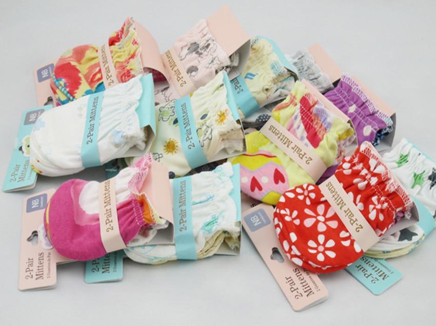 Baby Mittens 100% Cotton Newborn Gloves Infants Gauntlets Anti Catch Gloves Top Quality Printing Gloves EEA1361-4