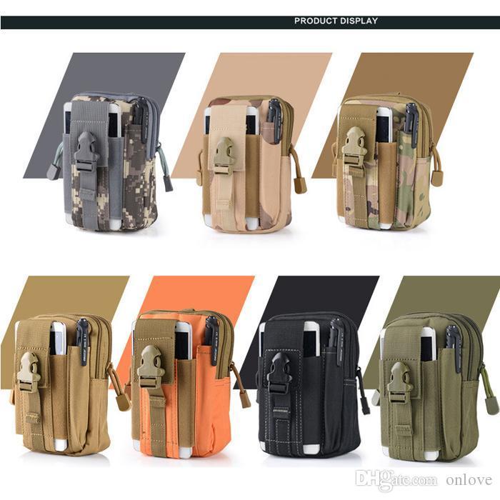 14 Renkler Bel Çantası Su geçirmez Taktik Kamuflaj Kuşak Bel Çantası Fanny Paketi Açık Spor Yürüyüş Bel Kılıfı Fener Telefon XD22408 için