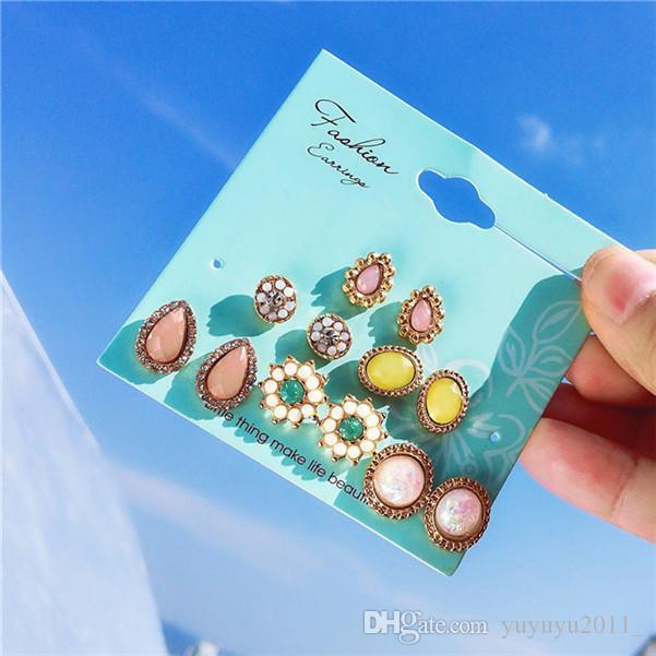 19 styles de mode Boucles d'oreilles Fleur de pierre Stud Set pour les femmes Bohême Zircon ronde Déclaration d'oreilles Parti ethnique Bijoux cadeau HZSEH001