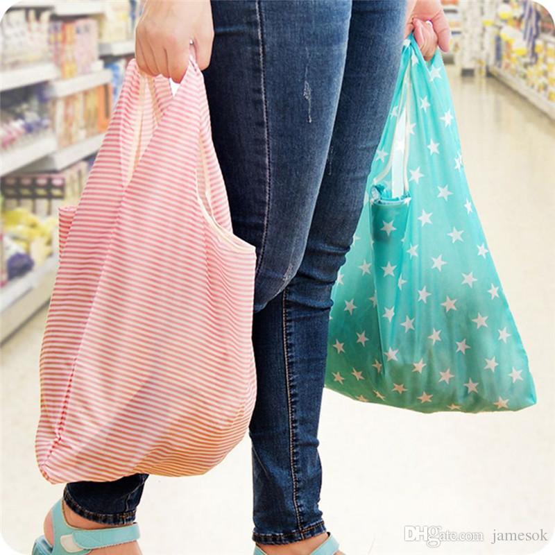 6 Art neue Art und Weisedrucken faltbare grüne Einkaufstasche Tote faltende Beutelhandtaschen Bequeme Speicherbeutel der großen Kapazität D35