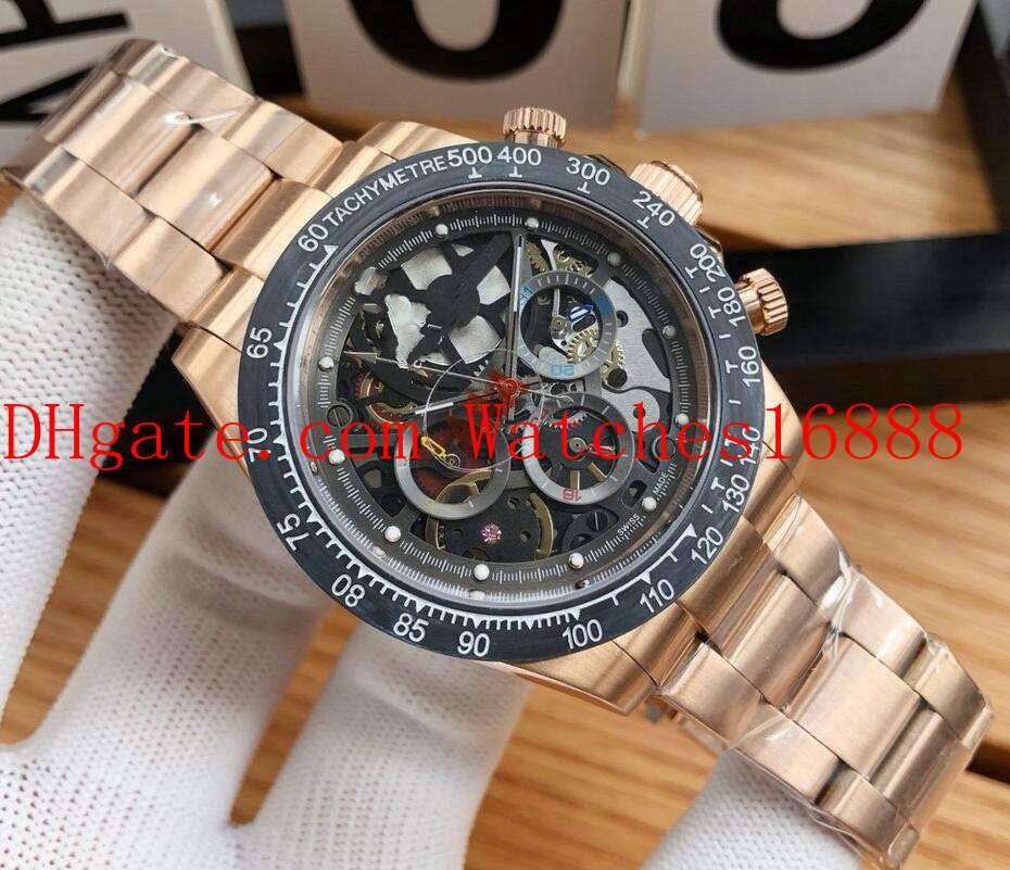 3 Livraison gratuite Style de Cosmograph 42mm 18k or rose cadran noir squelette Cadran Hommes Mécanique Automatique Montres Montres-bracelets pour homme