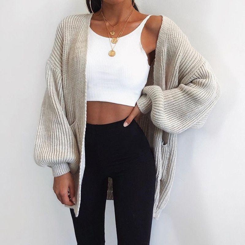 Féminin cardigans automne hiver mode femme manches longues lâche cardigan cardigan chandail femme tricoté cardigan tire asiatique taille asiatique taille