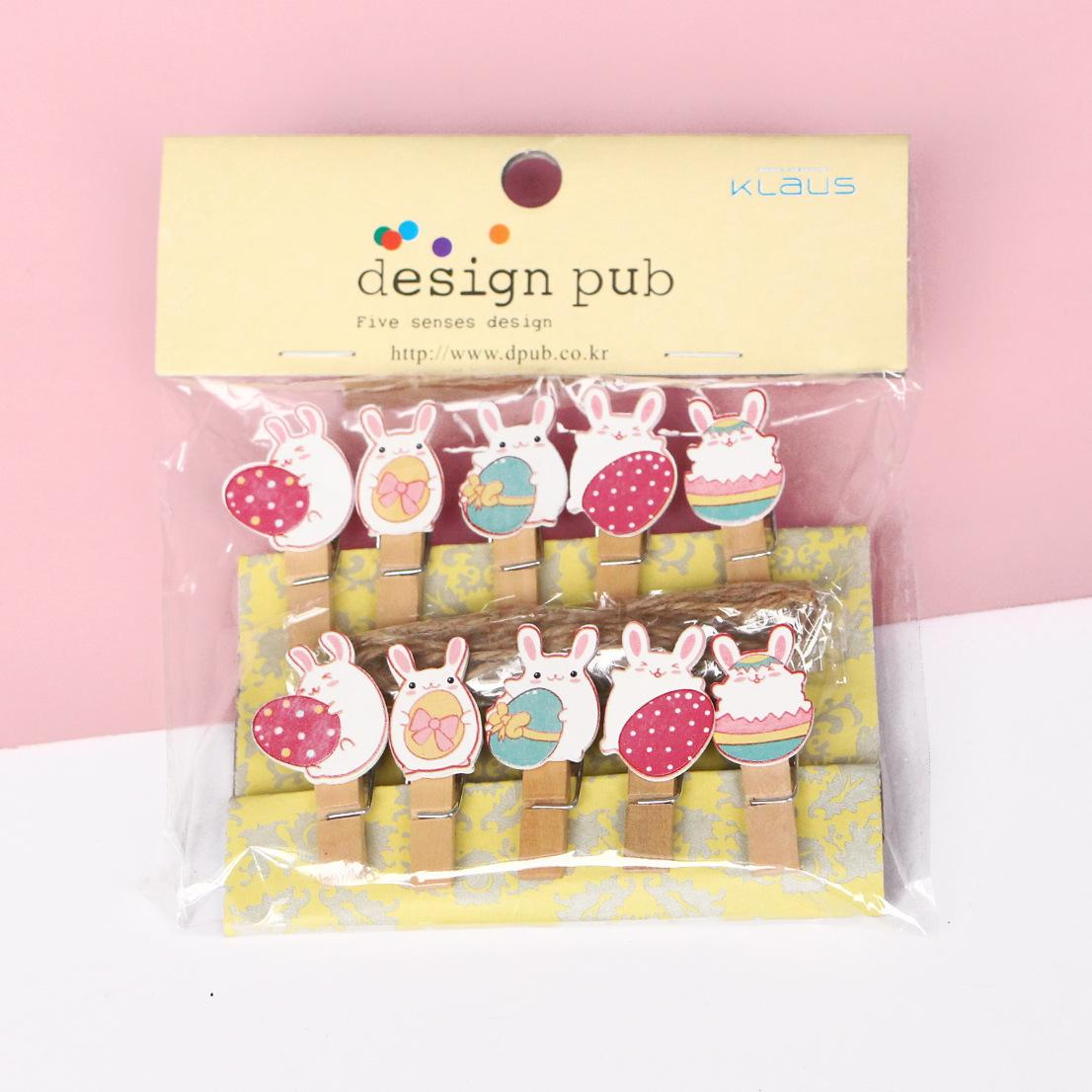 Mini Wooden Peg Clips Easter Bunny Shape Photo Clamp Holder Crafts Home Wedding Favor Decor Party Supplies