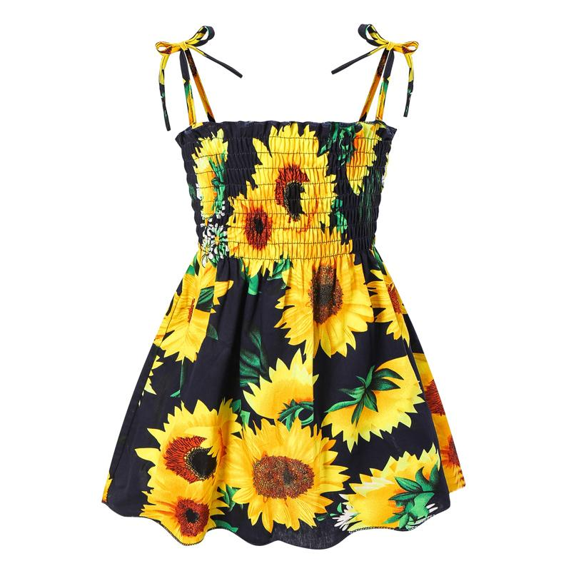 Baby Girls Floral Dresses Bohemia Sling Dress Toddle Cartoon Outfits Kids Casual Clothes Girls Sunflower Skirts Boho Baby Cclothes 060514