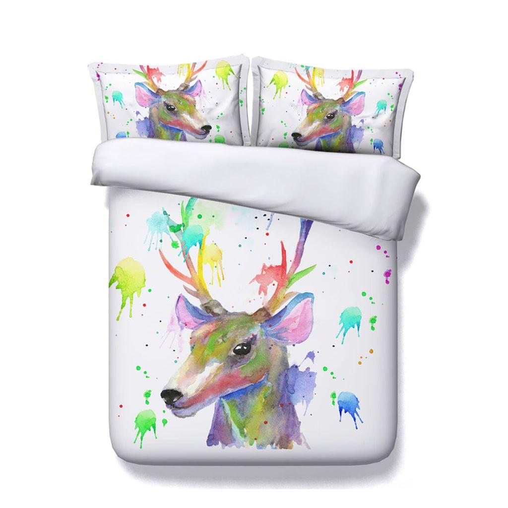 Christmas Deer Print Decorative 3 Piece Bedding Set Elk Duvet Cover Sets 2 Pillow Shams Antler Decor Animal Skull With Flowers Watercolor