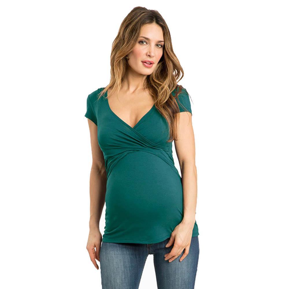 Telotuny Kleidung Fot Female 100% Baumwolle Frauen Solide Schwangere Nursing Baby Für Mutterschaft Multifunctionl Bluse T-Shirt Jl 05 Y19052003