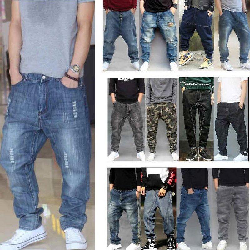 2020 Men Jeans Men's Loose Harem Denim Pants Casual Hip Hop Ripped Jeans Distressed Low Crotch Hole Loose Baggy Cotton Trousers
