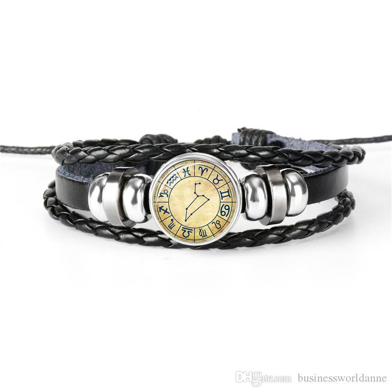 New Fashion 12 Constellation Zodiac Leo Time Gem Glass Cabochon Jewelry Handmade DIY Friendship Leather Rope Beaded Bracelet Adjustable Gift