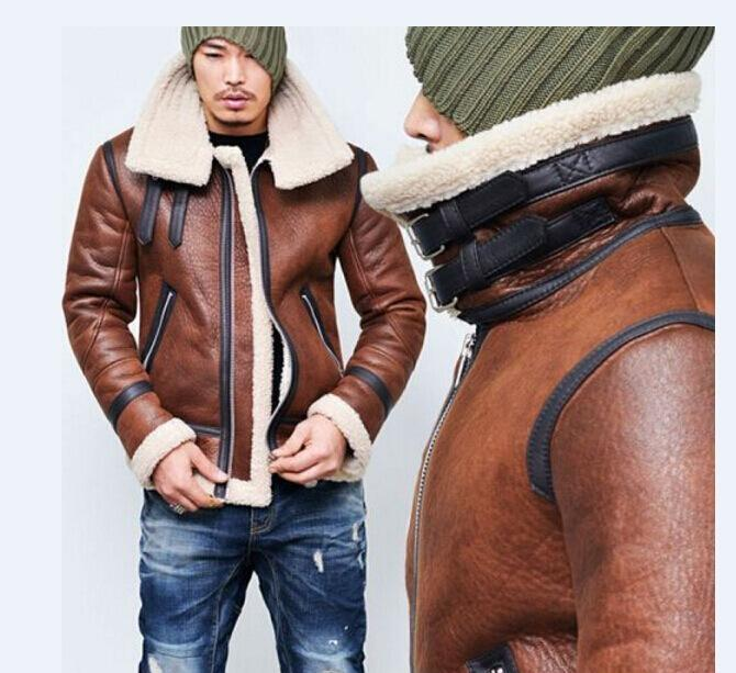 Mens Stand Collar Faux Leather Jacket Vintage Fashion Fleece Lined Moto Jackets