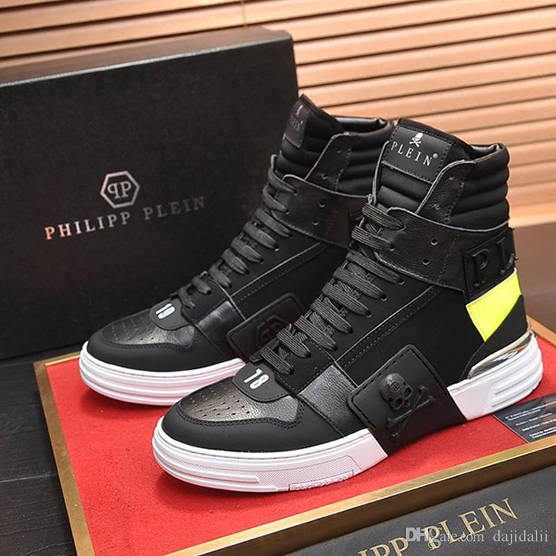 Повседневная мужская обувь модные кроссовки высокое качество классические Повседневная обувь на шнуровке комфорт фитнес Scarpe da uomo Phantom Kick$ Hi-Top Leather Mix