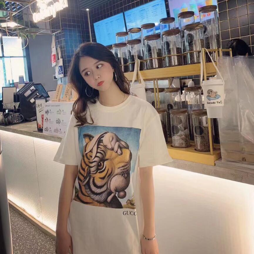 L 2.020 hombres V gucc i de las mujeres camiseta unisex ropa de verano de manga corta patrón de carta negro y camiseta blanca de alta calidad del algodón camiseta 97