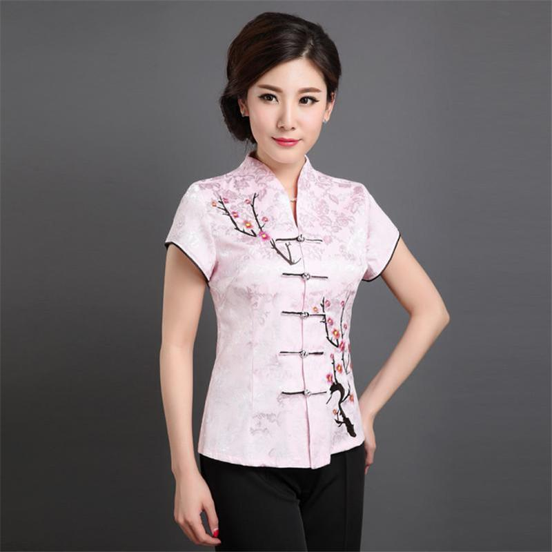 Middle-aged and Old Women's Short Sleeve Chinese Style Blouse Mother Cheongsam Tang Suit Tops Plus Size 5XL