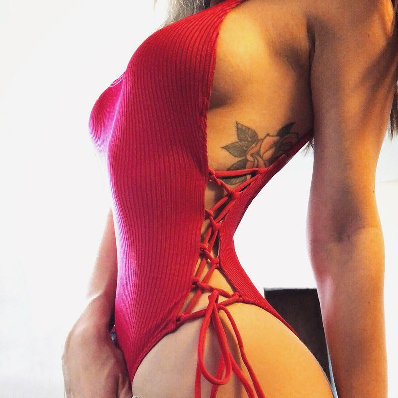 Kimuise Sexy Backless Women Bodysuits Lace Up Clubear Knit Female Overalls Female Jumpsuits Red Rompers Hollow Out Playsuit 2019