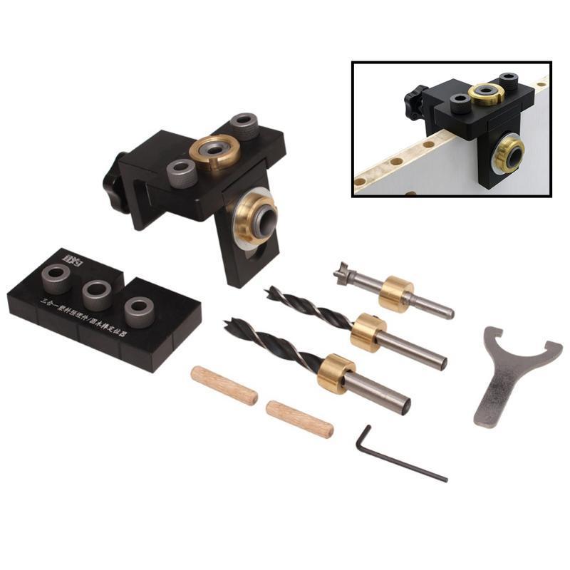 Lavorazione del legno spinatura Jig Pocket Foratura Locator Jig Kit Con 6/8 / 10mm Drill Bit verticale Drill Guida perforatrice Strumenti