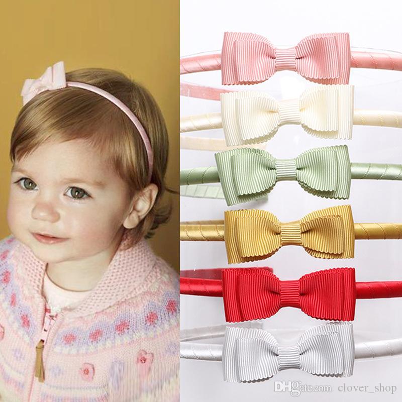 Аксессуары Cute Новорожденного Младенца Ribbon Bowknot ободки Solid Color Резинка для волос Банты диапазон волос для детей девочек