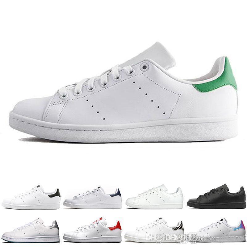 Novo designer smith jogo das mulheres dos homens sapatos casuais verdes azuis brancas pretas dos homens cor de rosa vermelhas stan apartamentos de sapatos de couro fashion sneakers