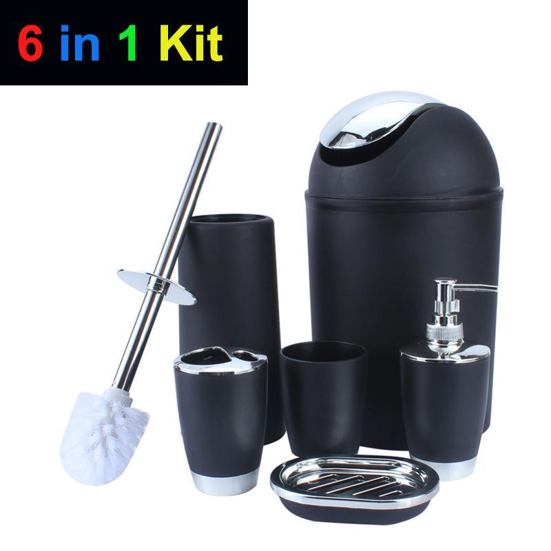 Accesorios de baño Set de baño 6 en 1 kit Banheiro Escobilla de baño Dispensador de jabón Jabonera cepillo de dientes titular bote de basura taza de agua