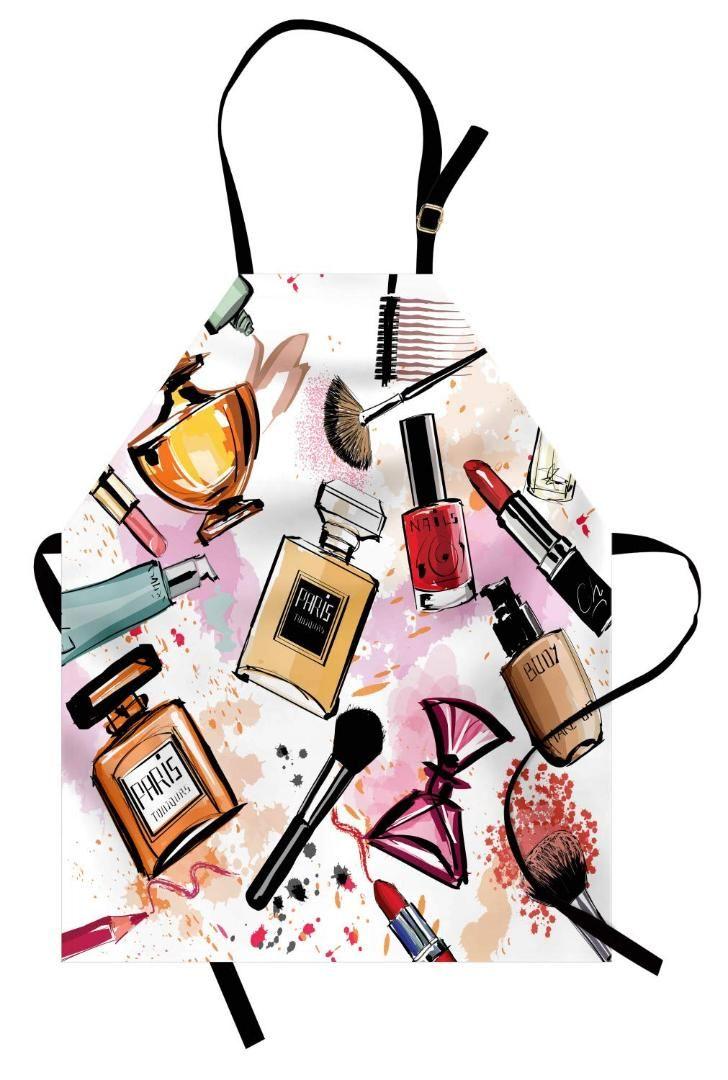 Fashion Apron Cosmetic and Makeup Theme Pattern with Perfume Lipstick Nail Polish Brush Modern Kitchen Bib for Cooking Gardening