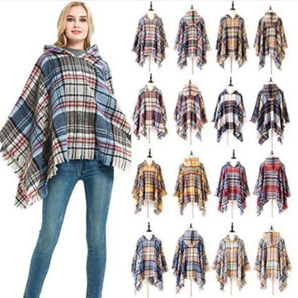 Envolturas de invierno a cuadros con capucha de punto con flecos del mantón del cabo usable bufanda de la manera ocasional del mantón caliente envolturas Capa exterior suéter Mantas WY36Q-3