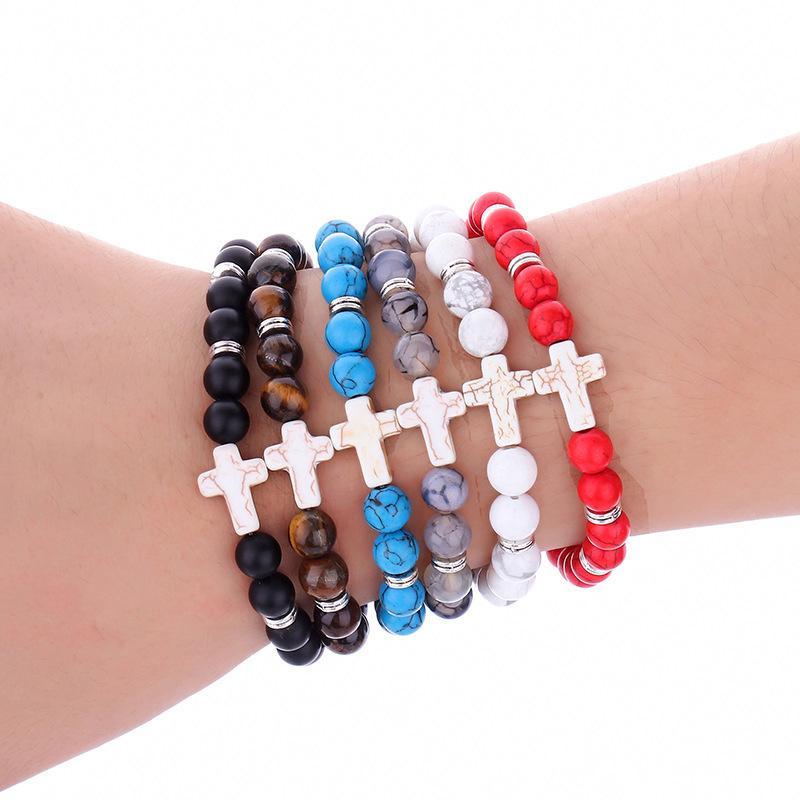 Cruz pulseira de pedra para as mulheres yoga jesus charme azul bonito turquesas homens pulseira pedra de lava preta 8mm contas brancas pulseiras pulseiras