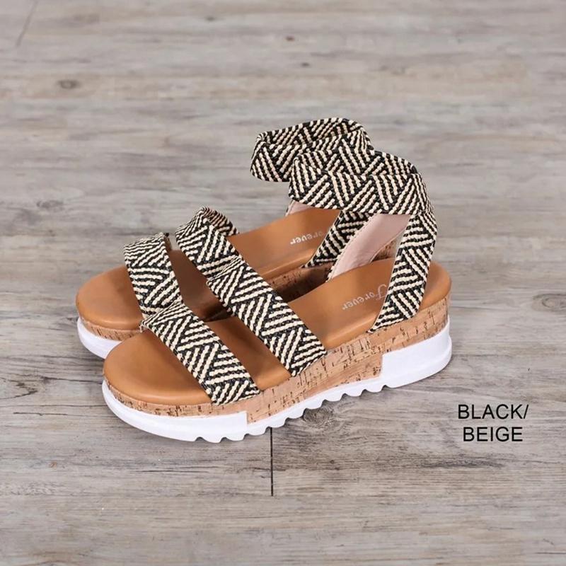 Nuovo 2020 sandali di modo piattaforma solida Donne Serpentine Peep Toe Mid Heel Shoes incunea cinturino alla caviglia Sandalia mujer femminili