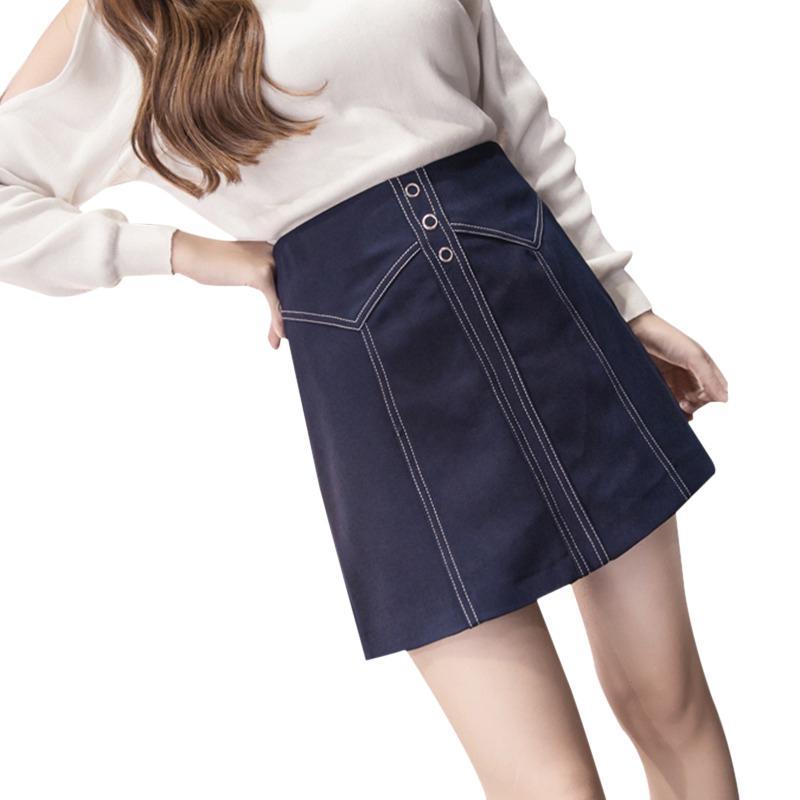 Wholesale-Mini Skirt 2018 Spring Autumn New Zipper Front Button Casual Skirt High Waist Women A-Line