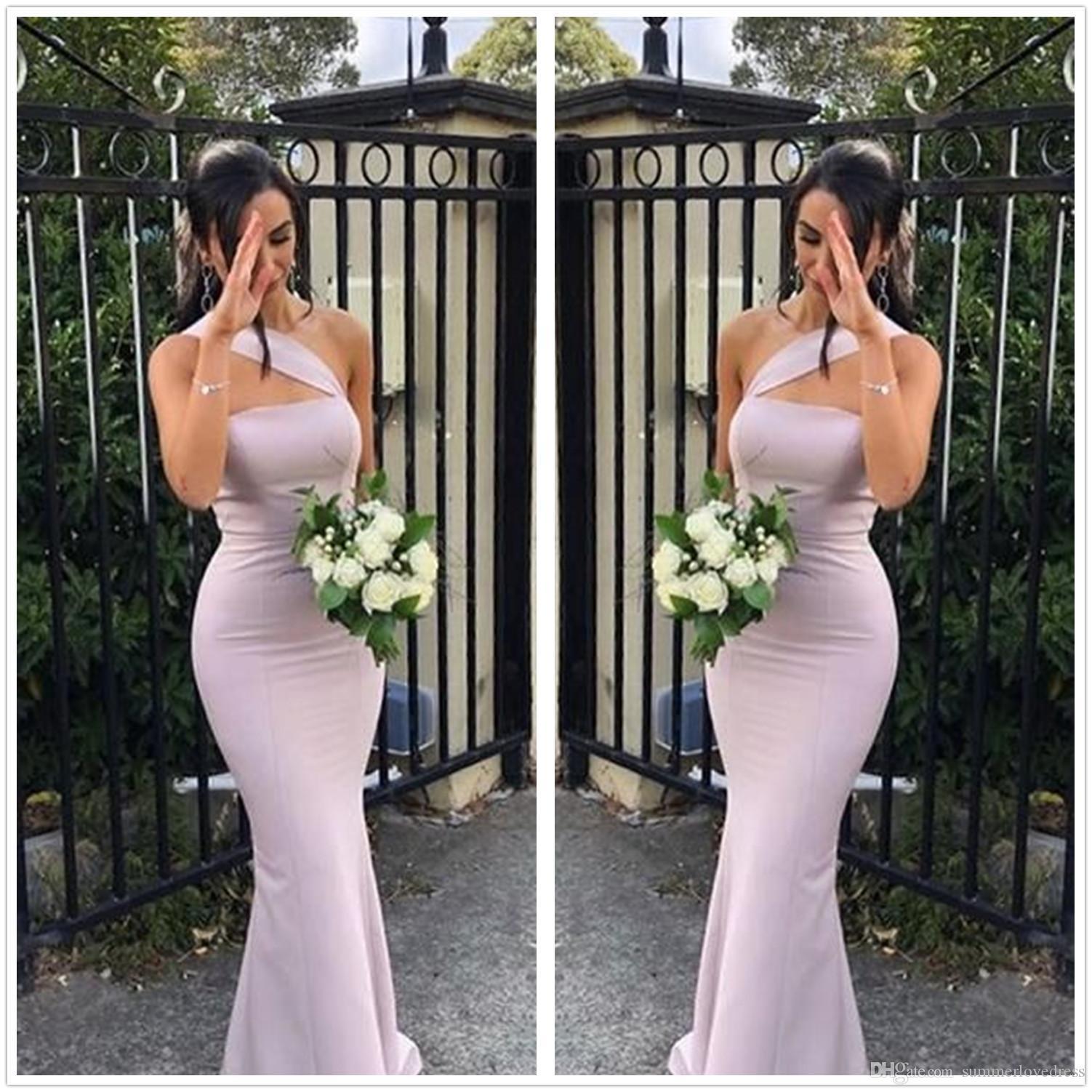 2019 un hombro sirena de satén largo vestido de dama con pliegues de longitud de boda formal de visitantes Criada de los vestidos