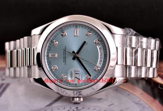 2020 Top quality мужские наручные часы Sapphire Day-Date II 41 President Platinum Watch Ice Blue Diamond Dial 218206 мужские автоматические часы