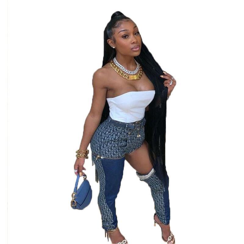 2020 스트리트 섹시한 깨진 구멍 디자인 여자 청바지 패션 패치 워크 레이스 업 연필 바지 새로운 인기 패션 섹시한 청바지