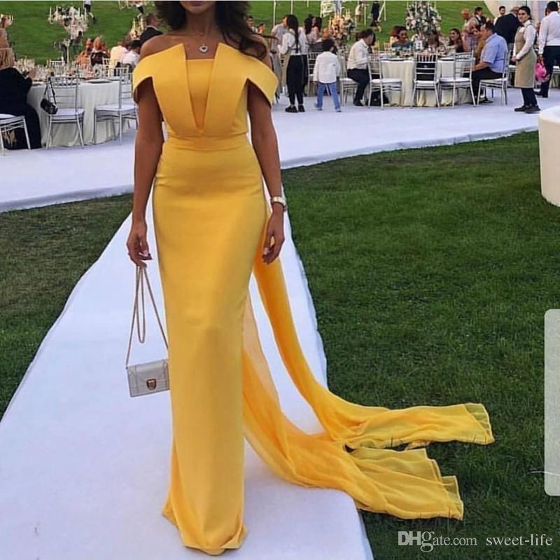 Gelb Abendkleider Langer Mantel Abendkleid Abiye Abendkleider Dubai weg vom Schulter-Partei-Kleid mit Chiffon Cape