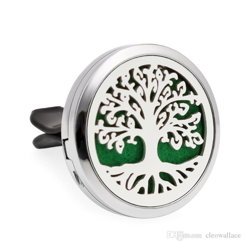 10 unids / lote 14 opciones de árboles familiares Ambientador de Aire de Coche 30mm Perfume de Aceite Esencial Coche Locket Difusor clip de ventilación 100 p almohadillas de aceite libre