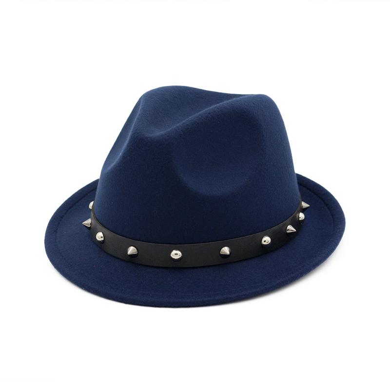 Chapeau en feutre de laine Jazz unisexe Mode Fedora Chapeaux avec Rivet groupe britannique de style d'automne chapeaux d'hiver pour hommes, femmes Gentleman Chapeau