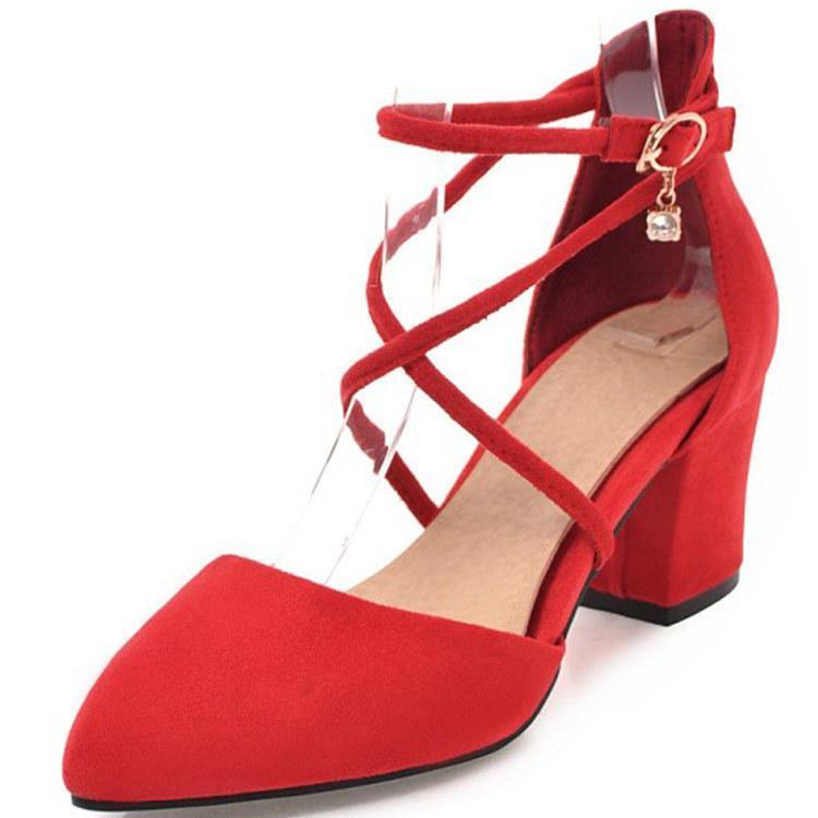 2018 novas sandálias mulheres Suede apontou cruzadas mulheres amarrar os sapatos tamanho grande 4043 a produção comercial de longo prazo estrangeira 803