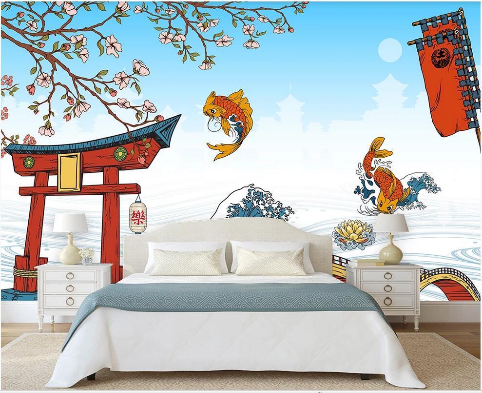 parede 3D cobrindo mural papel de parede personalizado Yuyue Longmen japoneses restaurante ferramentas fundo TV papéis de parede decoração casa decoração de parede