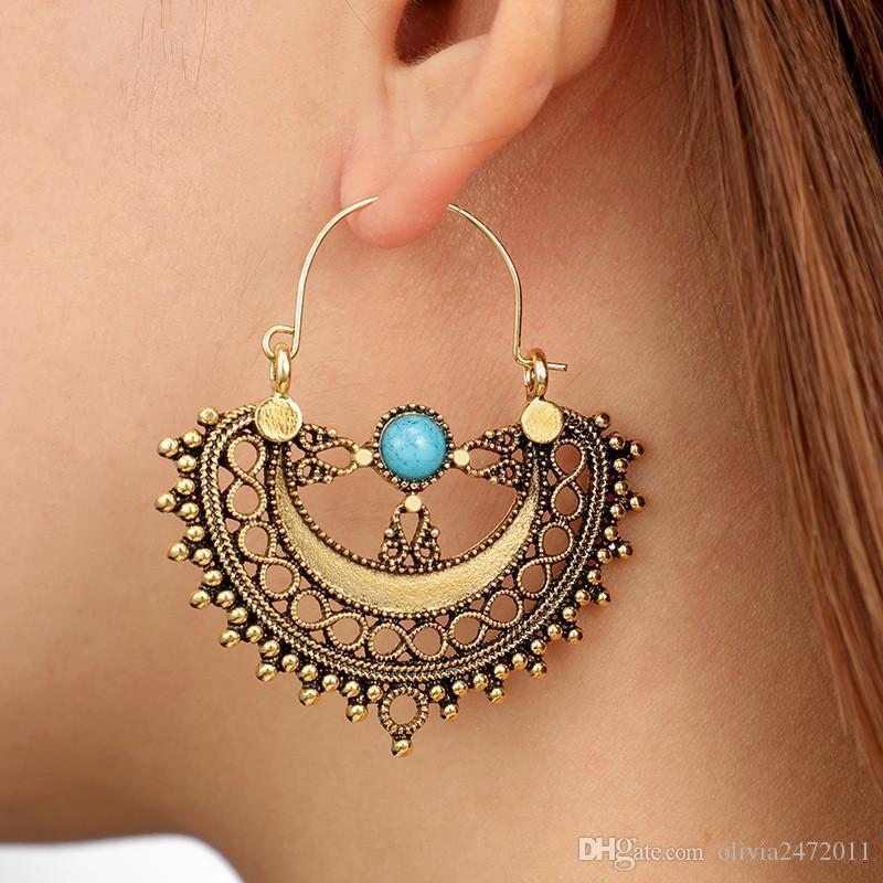 Новый Boho мода старинные серебряные золотые геометрические кисточкой серьги для женщин ретро синий драгоценный камень заявление падение серьги вечернее платье подарки YG