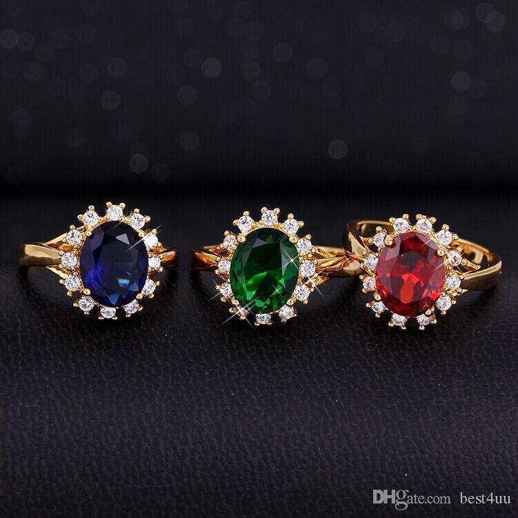2020 Haut Best4UU Round Super Big Red Stone Ring cubique Zironia couleur or rose cocktail bleu vert bague en cristal femmes Bijoux