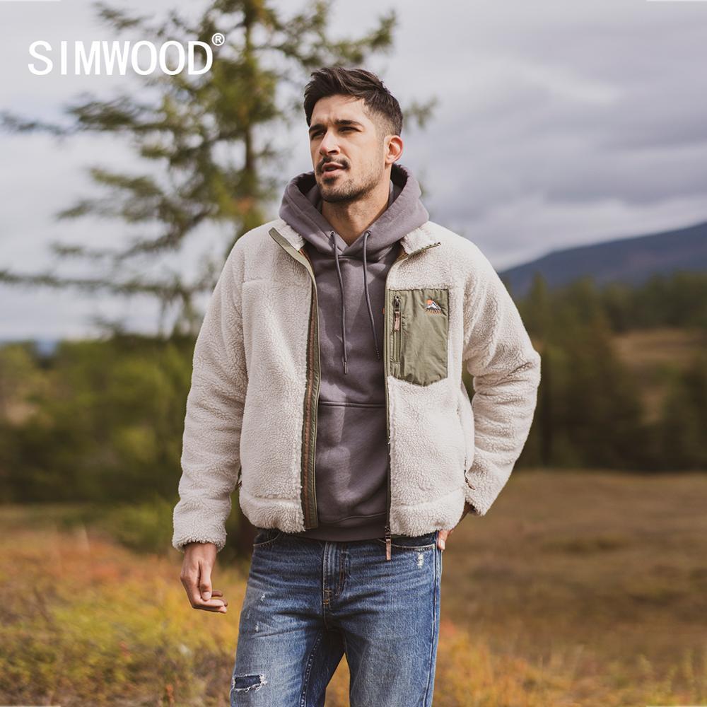 SIMWOOD 2019 autunno inverno nuovi di alta qualità rivestite uomini giacca in pile più sherpa dimensioni orsacchiotto Jacket più di formato cappotti SI980742