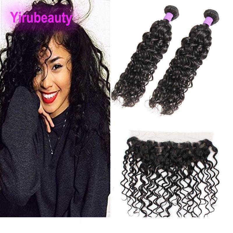 Brésil Virgin Hair 2 Bundles Avec 13x4 Dentelle Frontal Oreille de beaucoup Vague aux poils des cheveux Exte Ear Frontal Avec Bundles