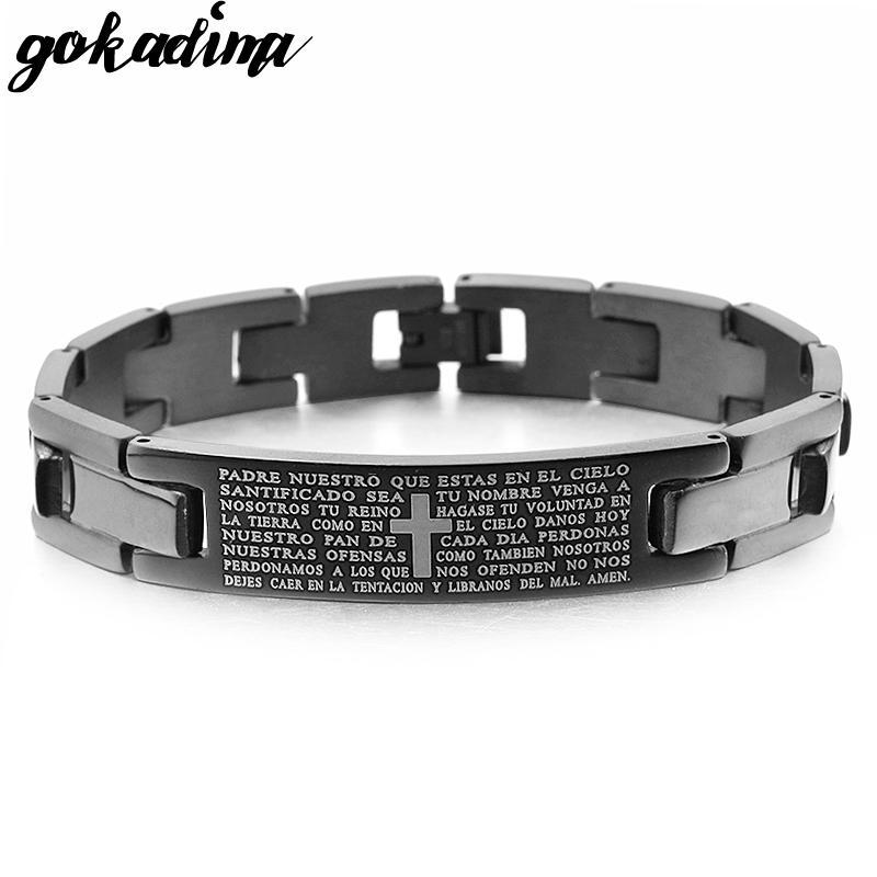 Bracciale Uomo Gokadima Croce Bibbia Scrittura bracciale in acciaio inossidabile colore nero o argento, gioielli pulseras all'ingrosso, WB104