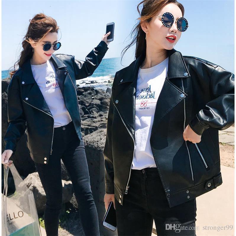 Women's Short Winter 2019 New Korean Version Baitao Student's Bf Loose Locomotive Leather Jacket