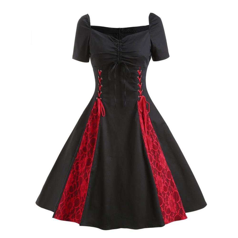 Großhandel 20 Neue Frauen Kleid Rot Und Schwarz Plus Size Sexy Große  Größen Gothic Spitze Rockabilly Abend Prom Swing Punk Kleid L20 Von