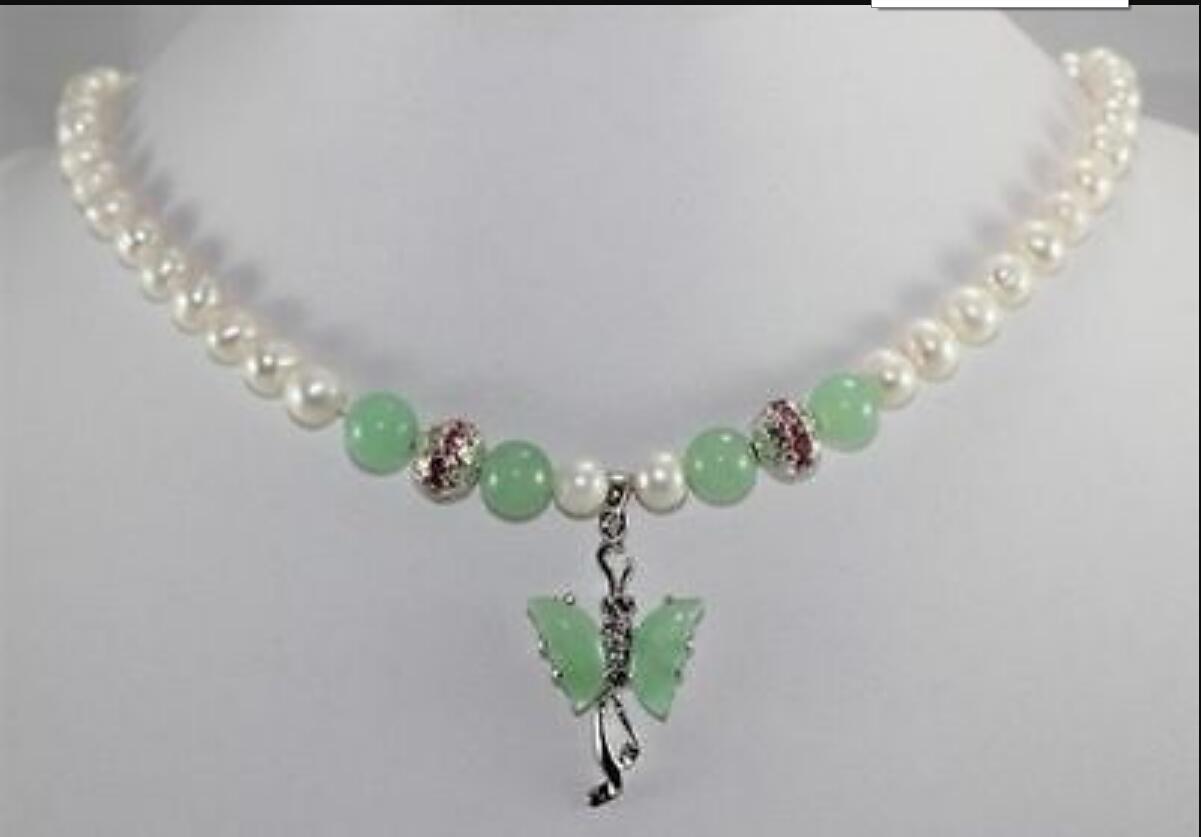 necklac Collier pendentif papillon vert PearlJade nouvelle conception blanche
