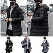 Encapuchado Outwear para hombre delgado apto caliente del color sólido de 2020 del nuevo invierno de las chaquetas de los hombres de invierno otoño Zip capas del algodón masculino ocasional de la chaqueta