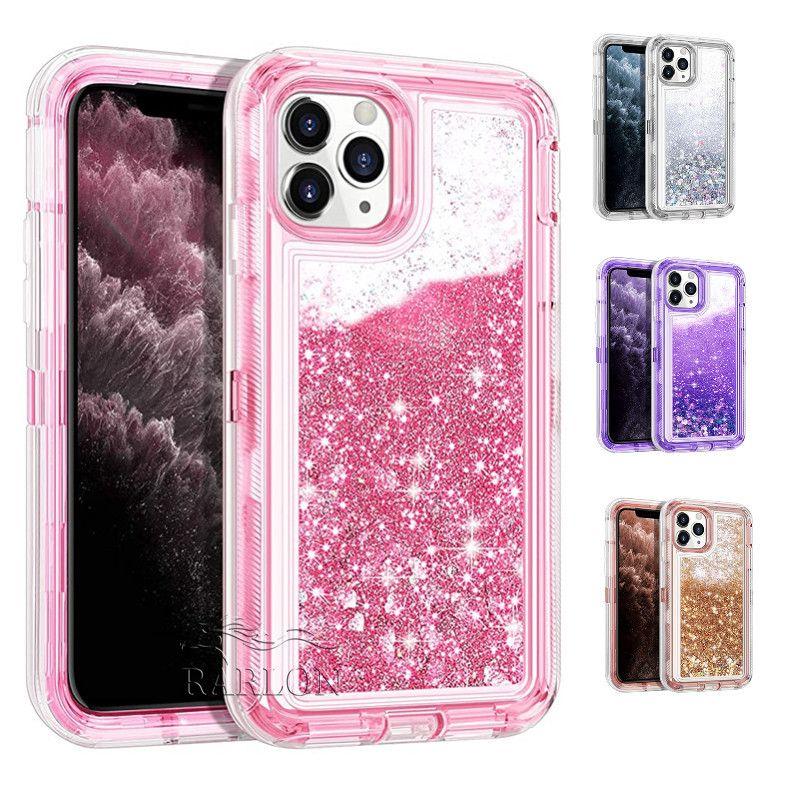 Caso di Bling liquido Cascata glitter Heavy Duty lucido respingente di gomma libero Defender Cover per iPhone Pro 11 Max XS Samsung S20 Ultra Nota 10