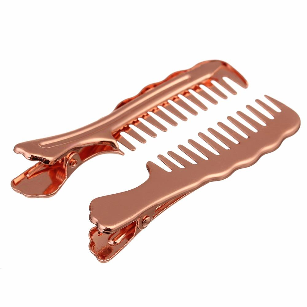 10pcs/lot Copper 15x68mm Rose Gold/Silver Color Hair Barrettes Comb For Women Hair Pins And Clips DIY Jewelry Accessories