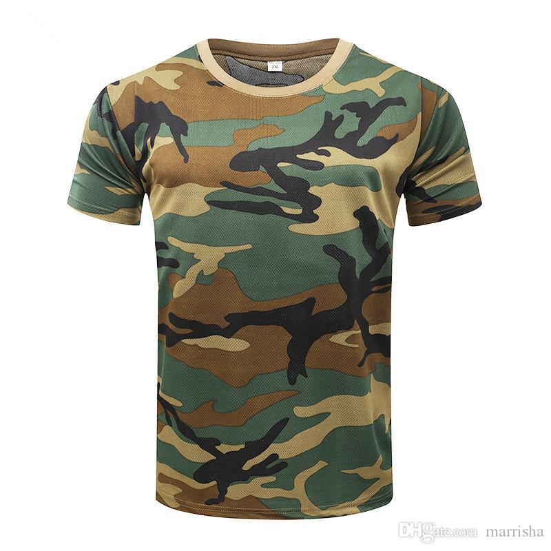 Camuflagem T-shirt 2018 Quick Dry respirável calças justas Army Tactical T-shirt Mens Compression Camiseta Academia de Verão Bodybulding