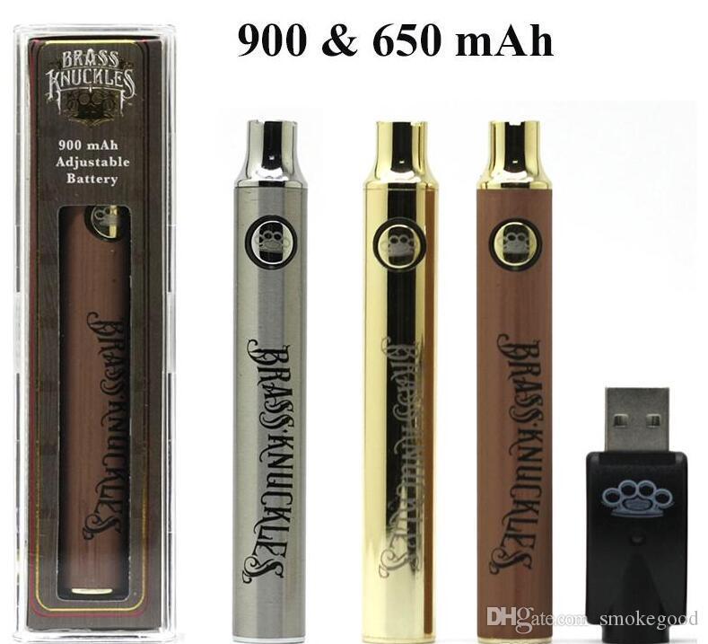 Латунные костяшки Vape аккумулятор 650 мАч 900 мАч перезаряжаемый 510 нить золотая древесина Vape Pen с розничной упаковкой для латунных картриджей