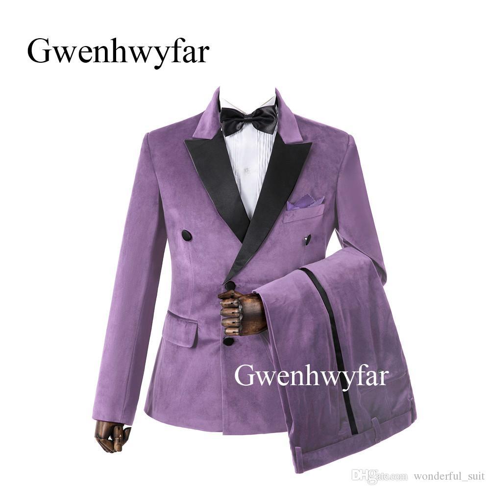Gwenhwyfar Nuova lavanda arrivo velluto smoking dello sposo Groomsmen banda decorato pantaloni Best Man Wedding Prom Cena adatti agli insiemi